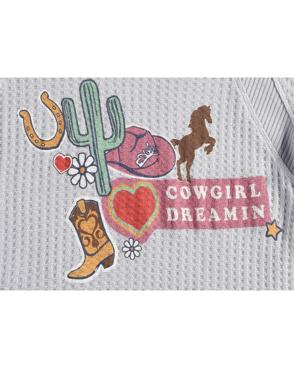 Shyanne Girls' Cowgirl Dreamin Long Sleeve Knit Shirt, Light Blue, hi-res