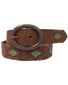 Roper Women's Brown Hand Paint Leather Belt, Brown, hi-res