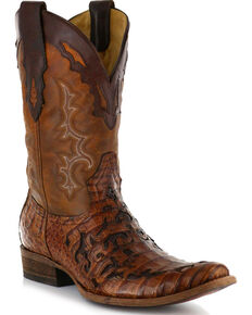 Corral Men's Caiman Laser Cut Western Boots - Square Toe , Brown, hi-res