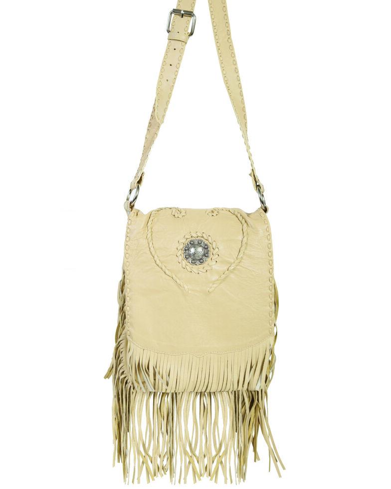 Scully Women's Concho Fringe Leather Handbag, Tan, hi-res