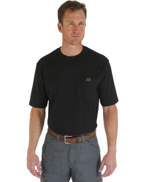 Wrangler Men's Riggs Short Sleeve Pocket T-Shirt - Big & Tall, Black, hi-res