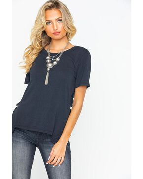 Miss Me Women's Ruffle Side Tee , Black, hi-res