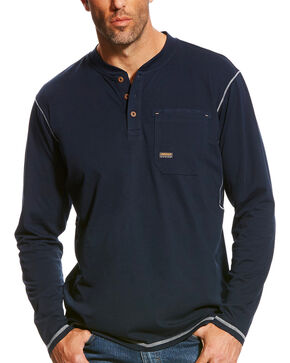 Ariat Men's Navy Rebar Long Sleeve Pocket Henley, Navy, hi-res