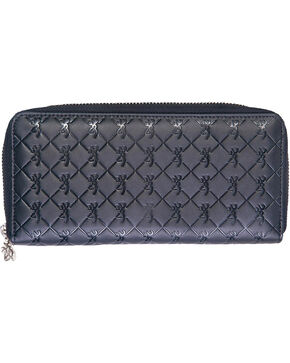 Browning Women's Zip Around Buckmark Wallet, Black, hi-res