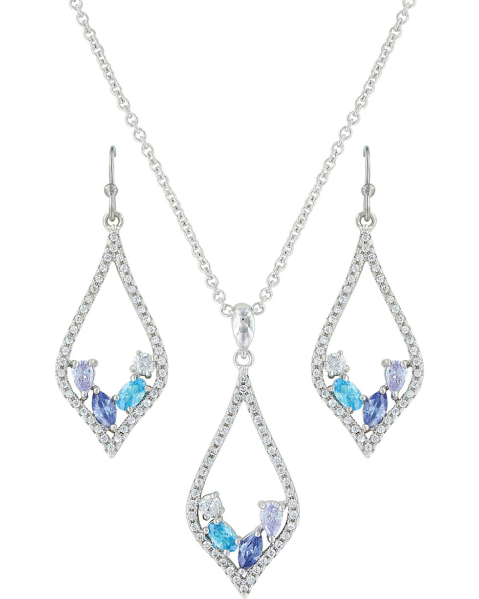Montana Silversmiths Women's River Of Lights At The Water's Edge Teardrop Jewelry Set , Silver, hi-res