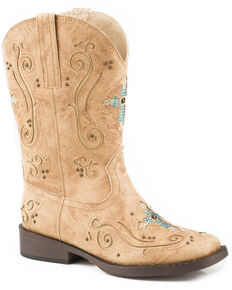 Roper Girls' Faith Crystal Cross Cowgirl Boots - Square Toe, Tan, hi-res