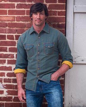 Ryan Micahel Men's Beacon Blanket Jacquard Shirt , Indigo, hi-res