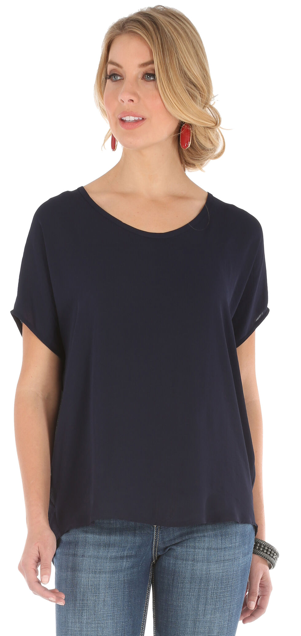 Wrangler Women's Dolman Top with Back Taping, Black, hi-res