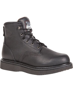 "Georgia Men's 6"" Lace-Up Wedge Work Boots, Black, hi-res"
