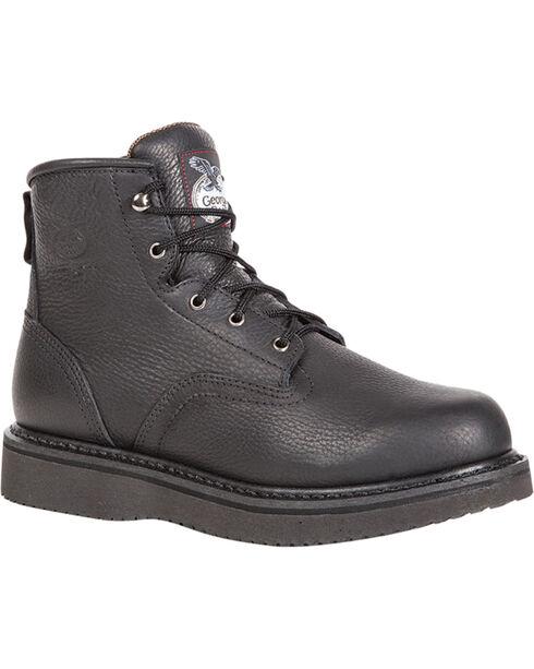 "Georgia Men's 6"" Lace-Up Wedge Work Boots, Black, hi-res"