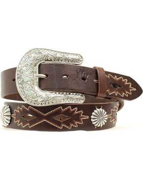 Nocona Southwest Stitched Leather Belt, Brown, hi-res