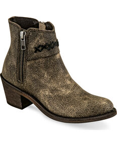 Old West Girls' Charcoal Distressed Leather Short Booties - Round Toe , Charcoal, hi-res