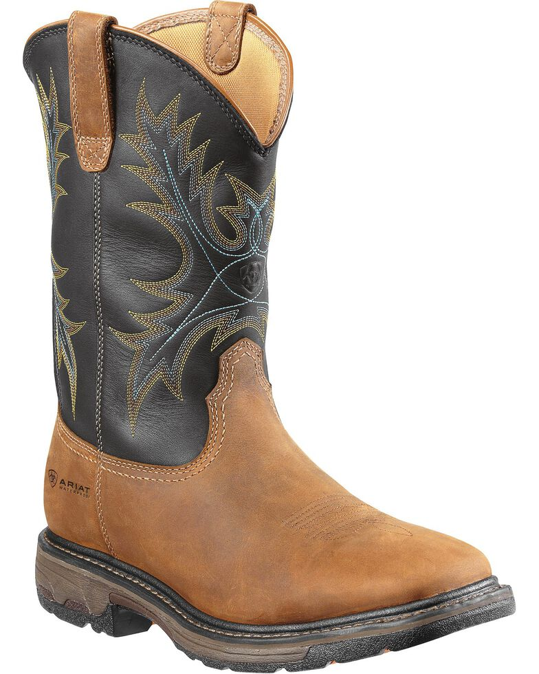 Ariat Workhog Waterproof Work Boots - Square Toe, Aged Bark, hi-res