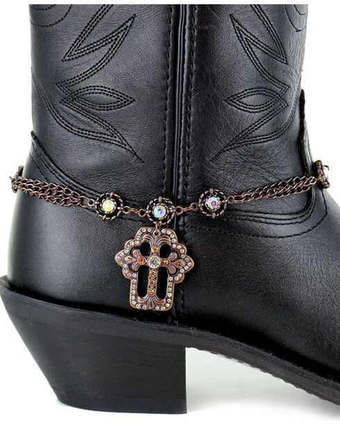 Shyanne Women's Brown Cross Boot Bracelet, Brown, hi-res