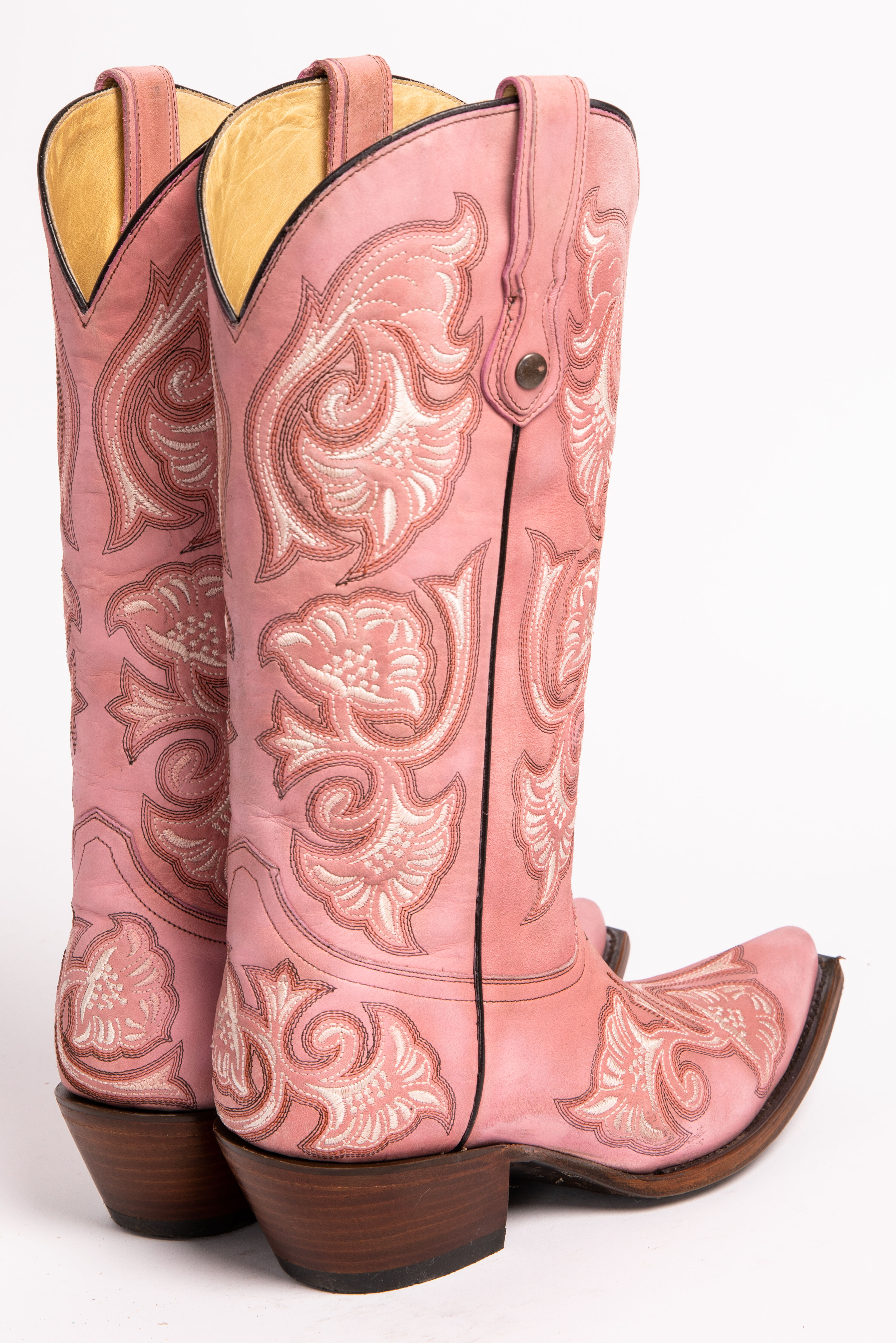 Girls Dark Brown Floral Dress Embroidery Leather Cowgirl Boots Square Toe