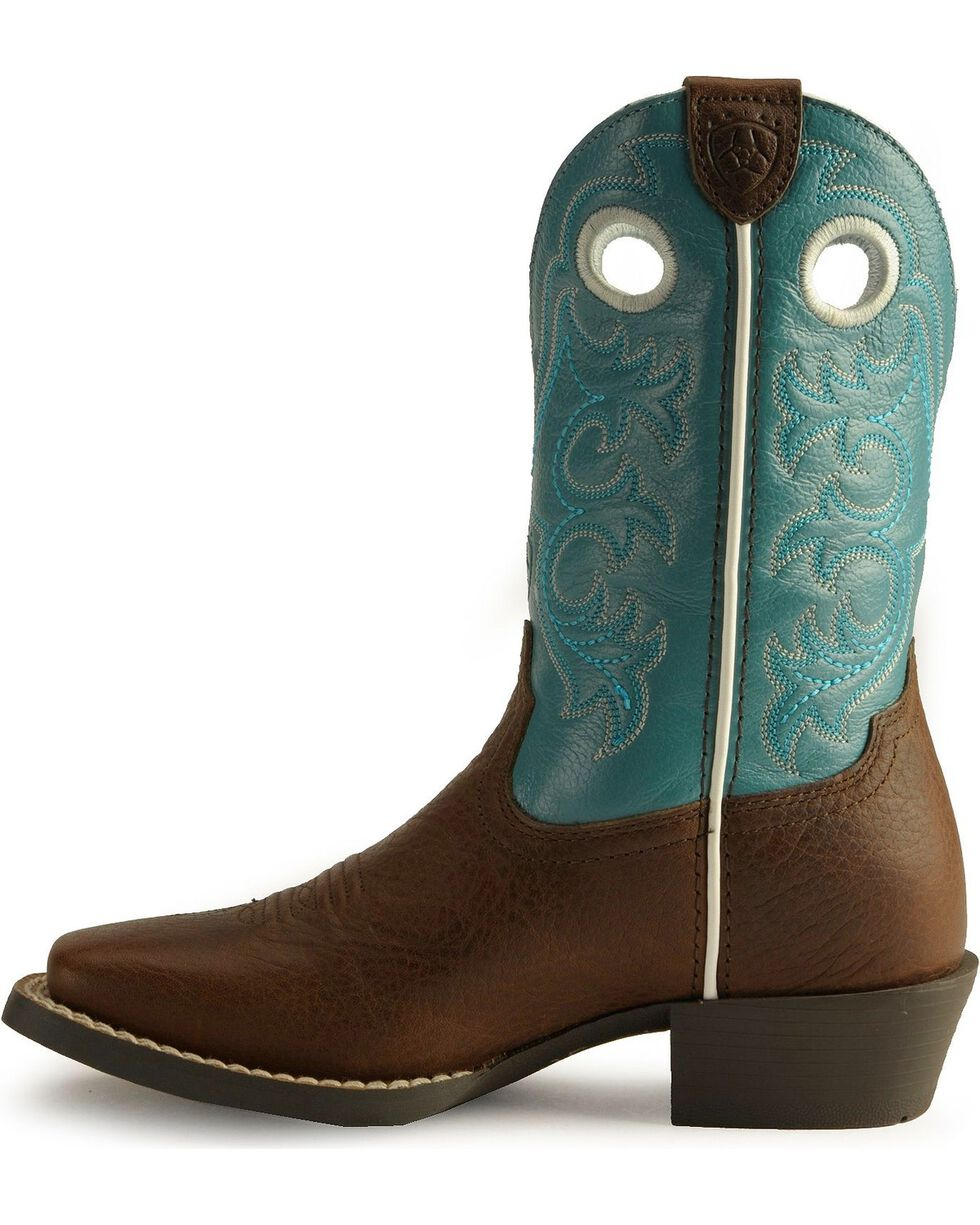 Ariat Youth Boys' Crossfire Cowboy Boots - Square Toe, Brown, hi-res