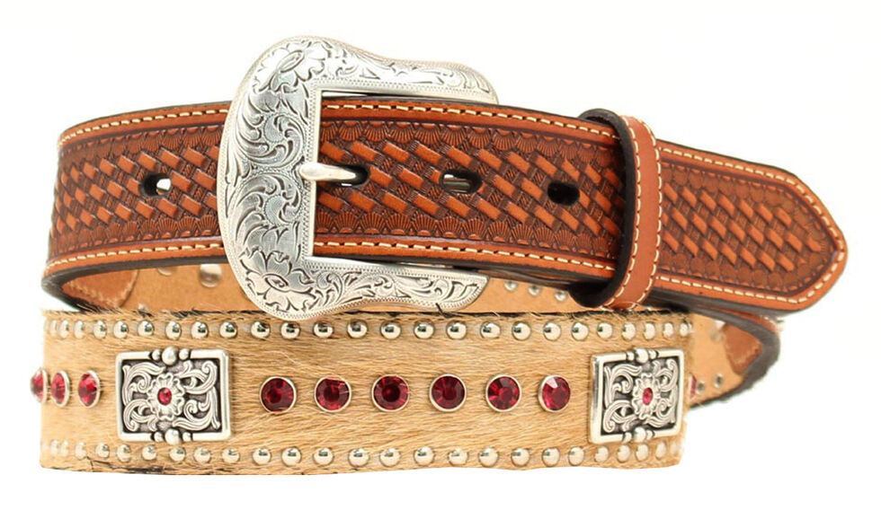 Nocona Hair-on-Hide Red Rhinestone & Concho Leather Belt, Tan, hi-res