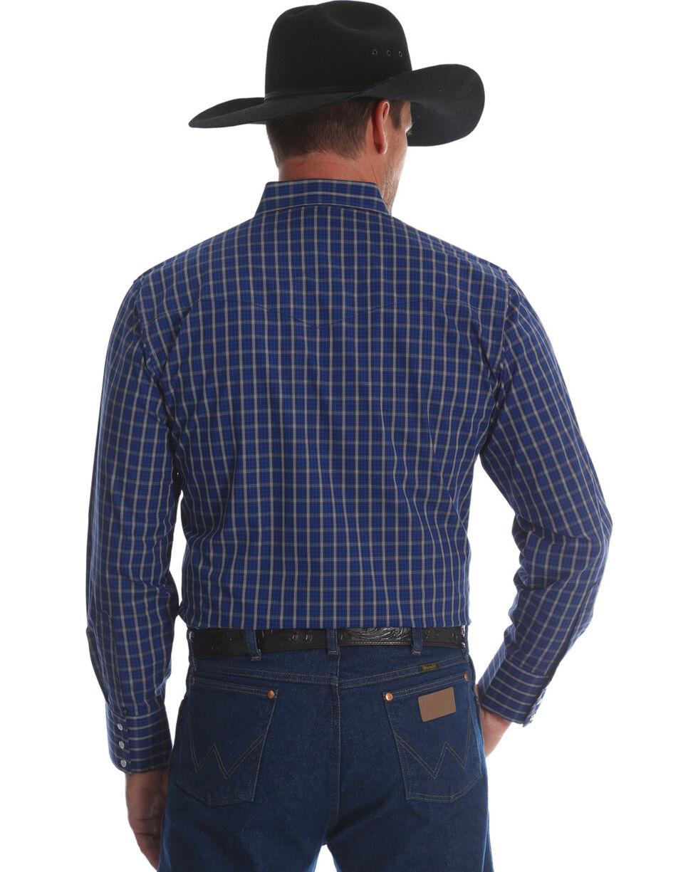 Wrangler Men's Wrinkle Resist Plaid Long Sleeve Shirt, Blue, hi-res