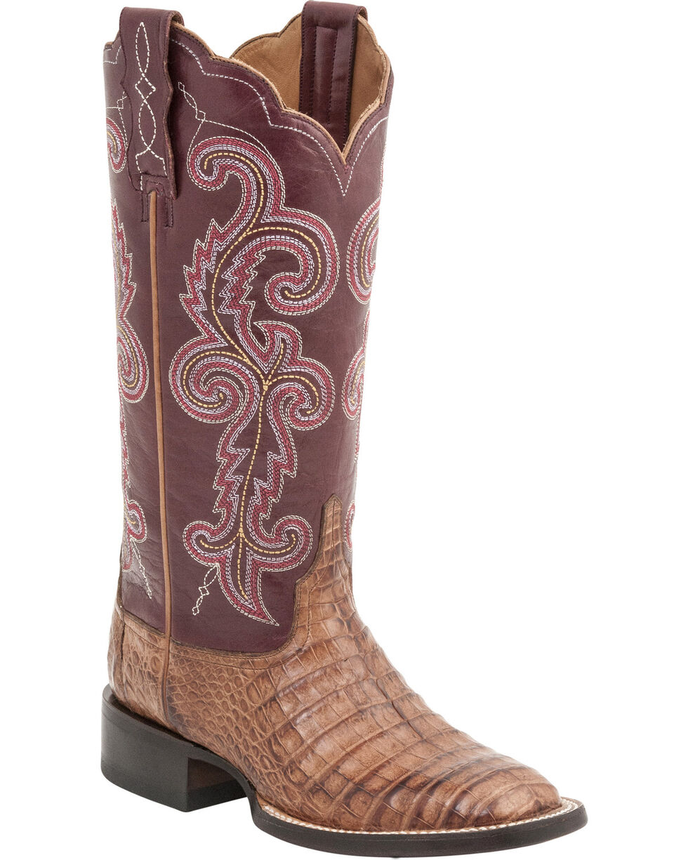Lucchese Handcrafted 1883 Women's Annalyn Ultra Caiman Belly Boots - Square Toe, Tan, hi-res