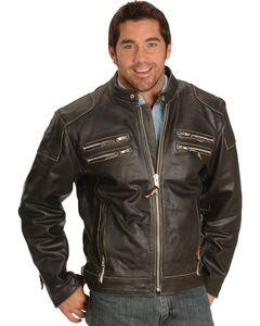 Interstate Leather Gangster Motorcycle Jacket, Black, hi-res