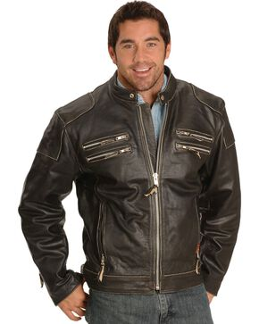 Interstate Leather Gangster Motorcycle Jacket, Black, hi-res