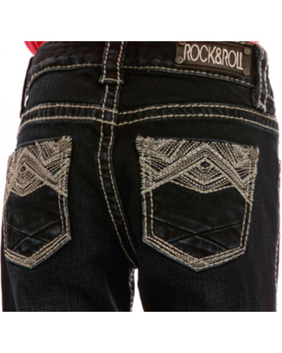 Rock & Roll Cowgirl Girls' Dark Wash Embroidered Jeans - Boot Cut , Indigo, hi-res