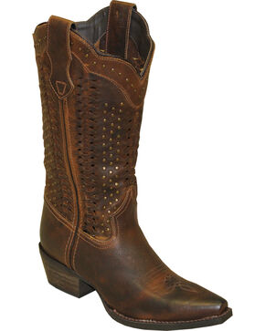 Rawhide by Abilene Scalloped and Weaving Western Boots - Snip Toe, Brown, hi-res