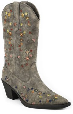 Roper Girls' Floral Embroidered Cowgirl Boots - Snip Toe, Brown, hi-res