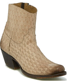 Tony Lama Women's Arrows Western Booties - Round Toe, Tan, hi-res