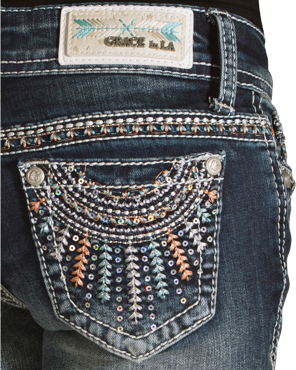 Grace in LA Girls' (7-16) Blue Feather Headdress Jeans - Boot Cut , Blue, hi-res