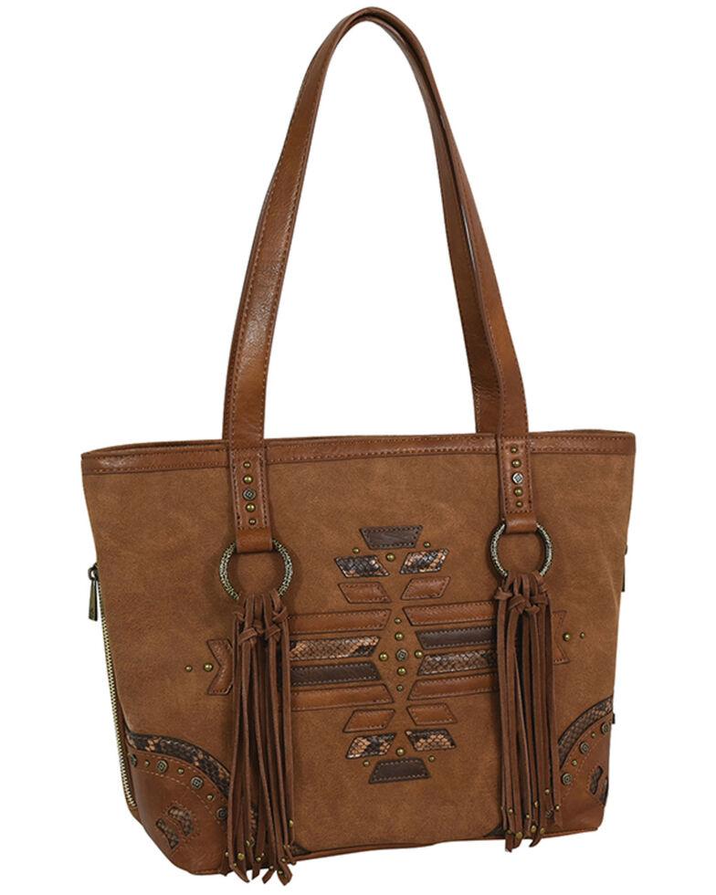 Catchfly Women's Tonal Python Print Tote Bag, Brown, hi-res