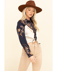 H Bar C Women's Navy Aspen Embroidered Long Sleeve Western Shirt , Navy, hi-res