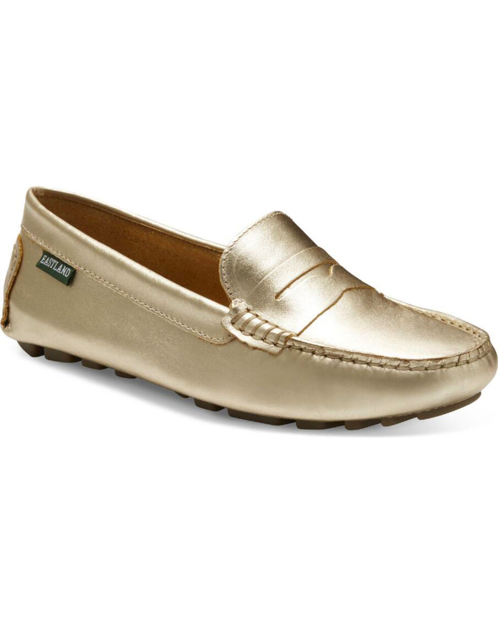 Eastland Women's Gold Patricia Penny Loafers , Gold, hi-res