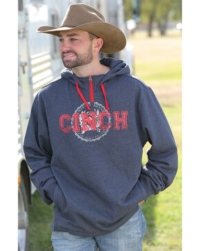 Cinch Men's Navy Pullover 1/4 Zip Hoodie , Navy, hi-res