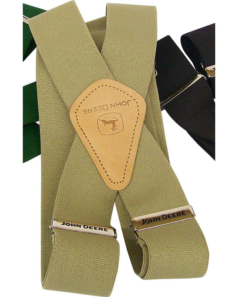 John Deere Leather Patch Suspenders, Khaki, hi-res