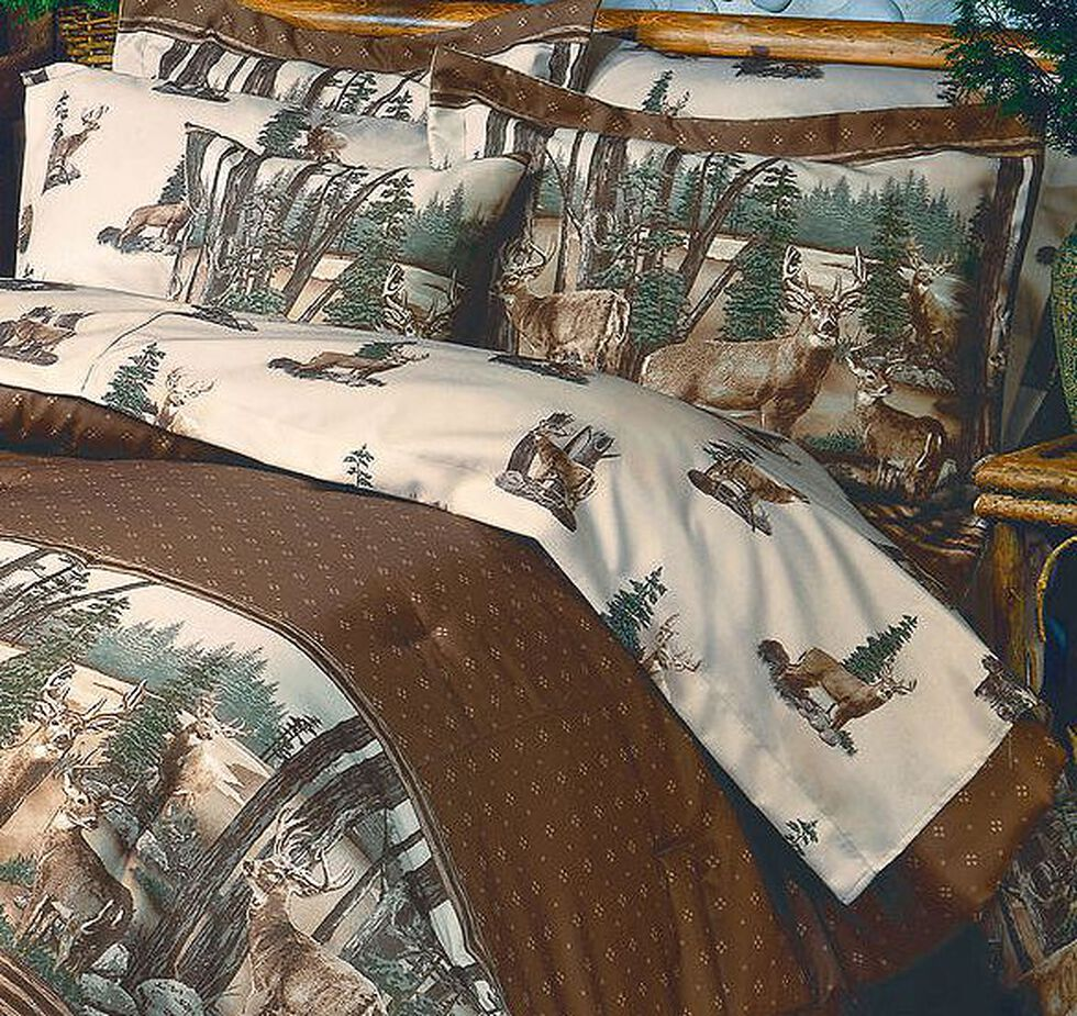 HiEnd Accents Blue Ridge Trading Whitetail Dreams King Sheet Set, Brown, hi-res