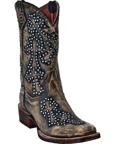 Dan Post Cross Walker Cowgirl Boots - Square Toe, Tan, hi-res