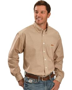 Cinch ® Flame Resistant Brown Plaid Work Shirt, Brown, hi-res