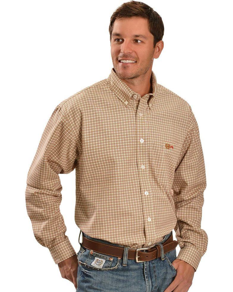 Cinch ® Flame Resistant Brown Plaid Work Shirt, Brown, hi-res
