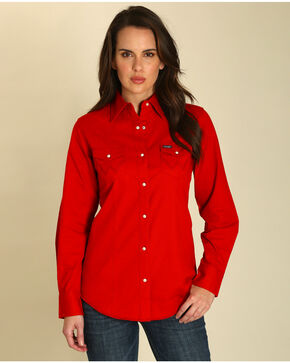 Wrangler Women's Red Long Sleeve Western Shirt, Red, hi-res