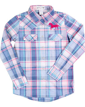 Shyanne Girls' Horse Embroidered Plaid Long Sleeve Shirt , Blue, hi-res