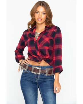 Shyanne Women's Western Core Plaid Studded Flannel  , Red, hi-res