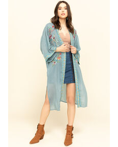 Johnny Was Women's Blue Summer Kimono, Light Blue, hi-res