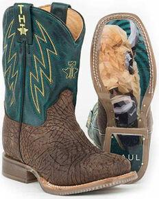 Tin Haul Girls' Bullhide Western Boots - Square Toe, Brown, hi-res