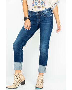 Silver Women's Elyse Mid-Rise Curvy Slim Jeans , Indigo, hi-res