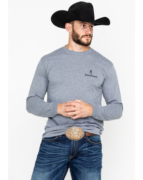 Browning Men's Longhorn Print Long Sleeve Shirt , Grey, hi-res