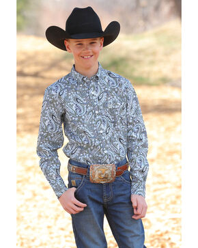 Cinch Boys' Paisley Print Button Long Sleeve Western Shirt , Multi, hi-res