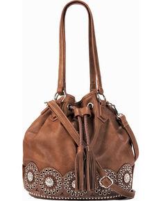 Blazin Ro Womens Rhianna Conceal Carry Bucket Bag Brown Hi Res