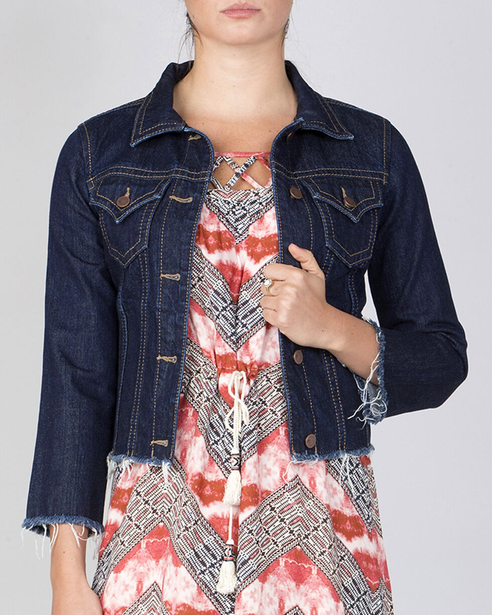 Miss Me Women's Indigo Raw Hem Denim Jacket , Indigo, hi-res