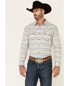 Moonshine Spirit Men's Line Dance Horizontal Stripe Long Sleeve Snap Western Shirt , Grey, hi-res
